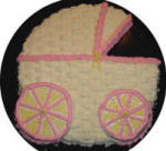 cut out baby carriage cake